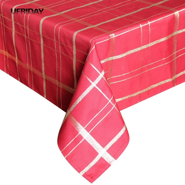 UFRIDAY Red Gold Plaid Tablecloth Rectangle Christmas Tablecloth Luxury  Royal Polyester Table Cover Waterproof Table Cloth