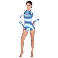 Striped Rashguards Women Long Sleeve Swimwear Rash Guard Surf Two Piece Swim Bodysuit Diving Suit Surfing