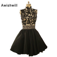 Black Cocktail Dresses High Neck Beaded Appliques Satin Open Back Mini Short Cocktail Dress For Prom