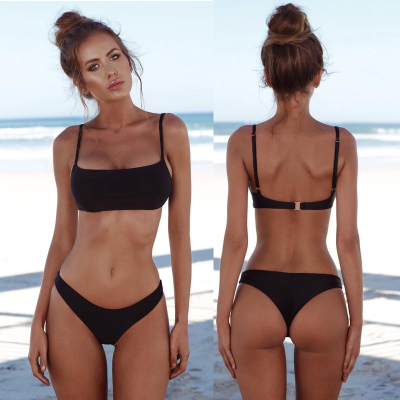 Buy COSPOT Bikini 2019 Solid Swimwear Women Sexy Bandeau Swimsuit Brazilian Biquini Female Beach Wear Bathing Suits Swimming Suit