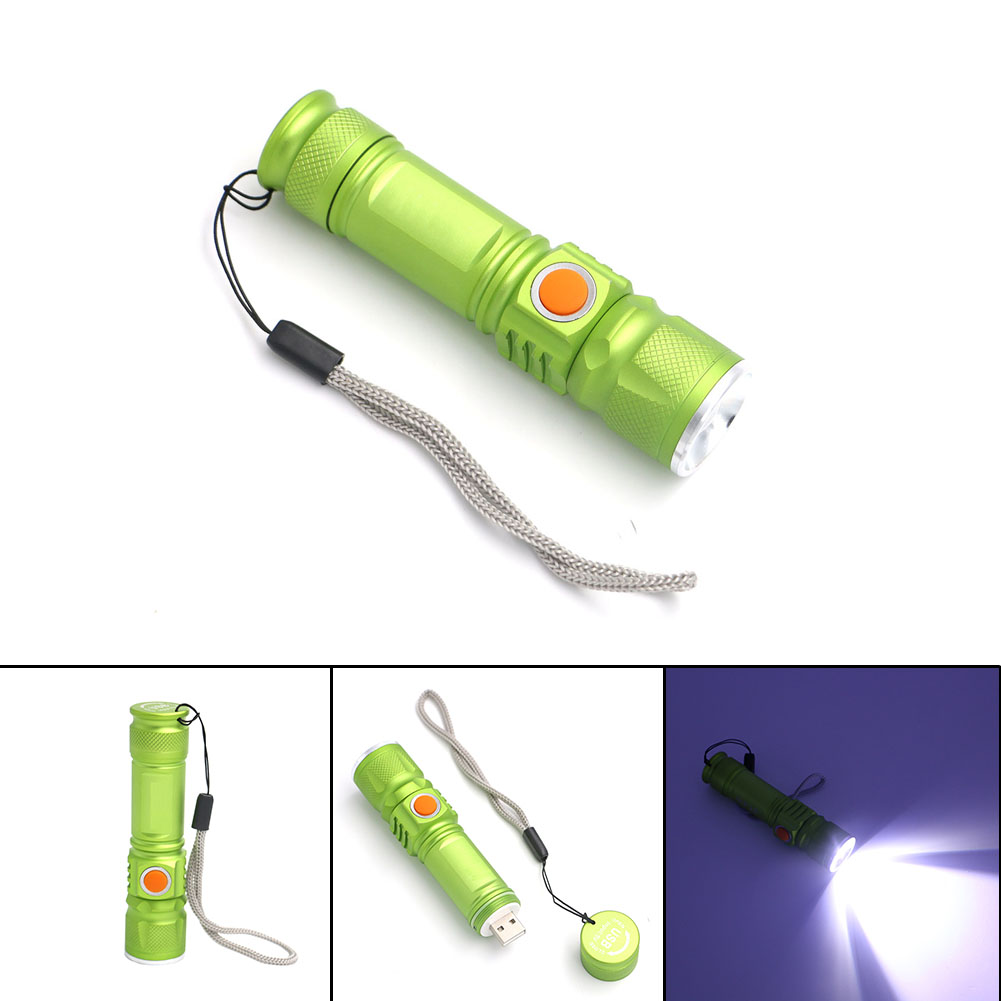 Bright 3 Modes XML T6 3800LM Built-in 18650 USB Rechargeable Flashlight  Portable Lantern Waterproof Torch Zoomable Flash Light