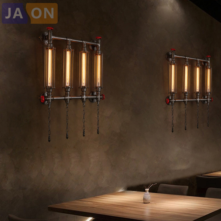 e27 Edison Loft Industrial Wrought Iron Pipe LED Lamp LED Light Wall lamp Wall Light Wall Sconce For Bar Foyer Bedroom right left hand vintage wood american wall lamp loft study foyer dining room bar coffee shop wall light e27 edison sconce wwl091