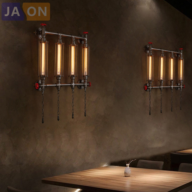 e27 Edison Loft Industrial Wrought Iron Pipe Wall lamp Wall Light Wall Sconce For Bar Foyer Bedroom