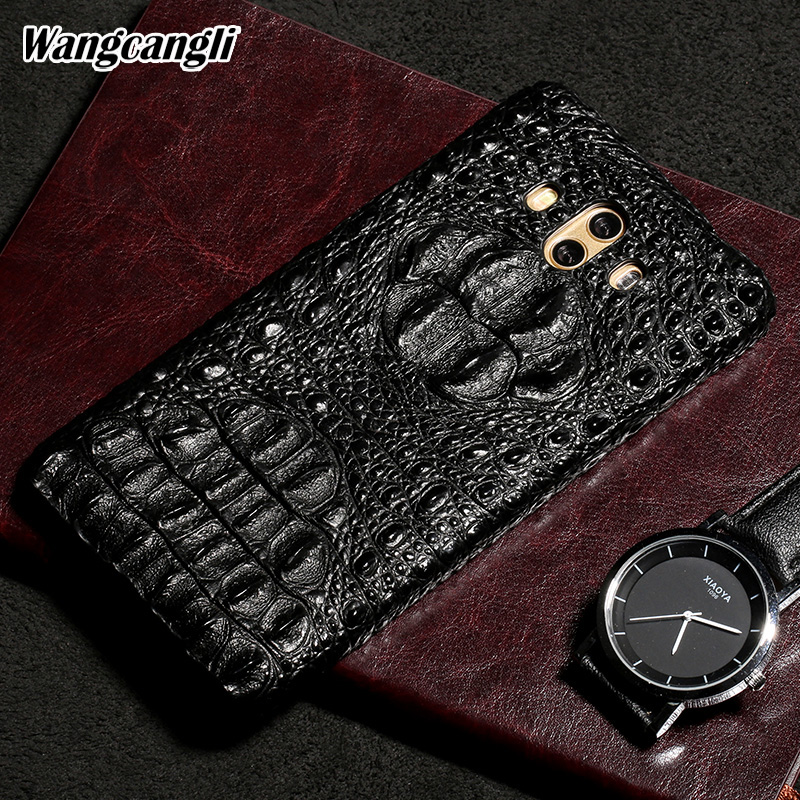 Wangcangli Genuine Leather phone case for Huawei Mate 10 Crocodile skull pattern Half pack phone cover phone protection case