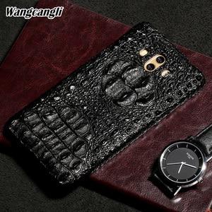 Image 1 - Wangcangli Lederen telefoon case voor Huawei Mate 10 Krokodil schedel patroon Half pack telefoon cover telefoon bescherming case