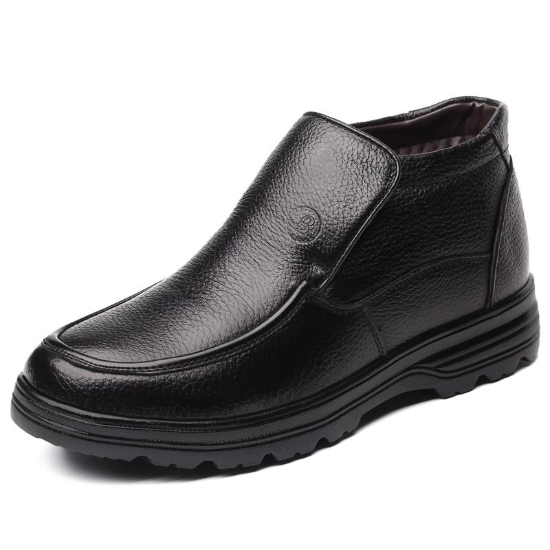 2018 Neu Mann Echtem Leder Stiefel Winter Leder Schnee Schuhe Wolle Innen Anti Slip Vater Ankle Stiefel 38-44 Mann Schnee Stiefel BüGeln Nicht