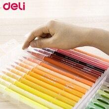 Deli colored pen 12/24/36/48 colors washable ink soft head fiber brush watercolor pens good quality colored bush set art marker