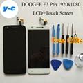 Doogee f3 pro display lcd + touch screen 100% novo digitador do painel de vidro assembleia para doogee f3 pro 1920x1080 telefone fhd 5.0 polegada
