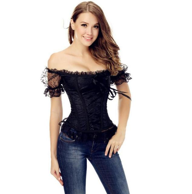 100pcs/lot  Bowknots Sweetheart Lace up black Girl Corset shoulder strap Boned Basque Bustier Top with Sleeve steampunk