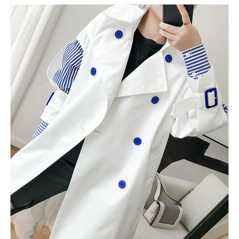 Korean Design Fashion Solid White Color Patchwork Striped   Trench   Coat Windbreaker Plus size casual Female outerwear