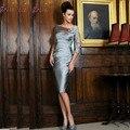 Hot Sale Elegent Bainha Luva Dos Três Quartos Curto Mãe De Comprimento do Joelho Vestidos de Noiva Com Apliques MD-089 2017 Novo estilo