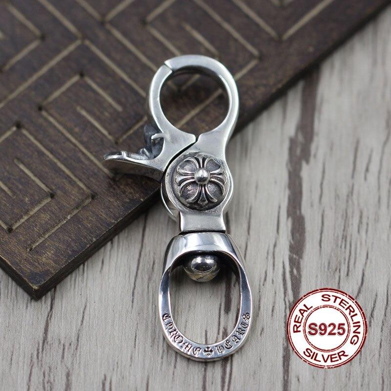S925 porte-clés en argent sterling rétro personnalité croix unique sac boucle Thai argent 925 créer punk vent porte-clés envoyer amoureux