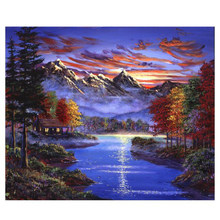 WONZOM Sunset Lake-Framed DIY Oil Paint By Numbers kit for adults,Wall Art picture,Digital Canvas Painting by numbers 40X50cm(China)