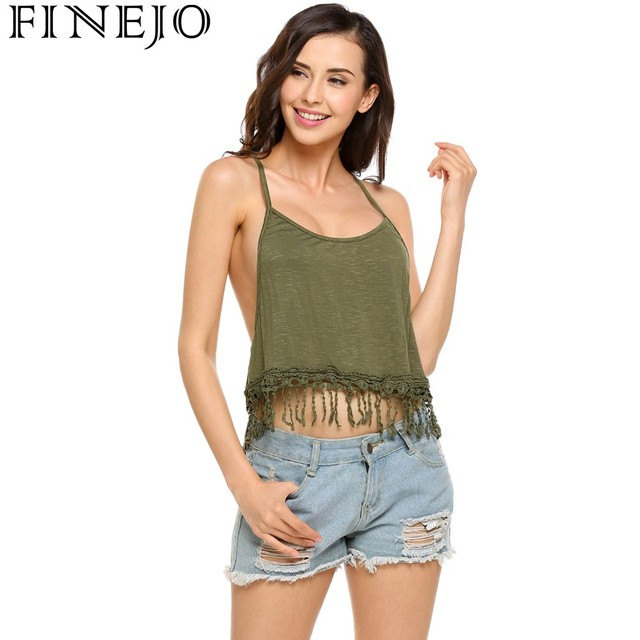 5447c9473a455 FINEJO Women Round Neck Spaghetti Strap Solid Crochet Lace Fringed Cropped  Cami Tops 2018 Spring summer Camiseta Tops Blusa