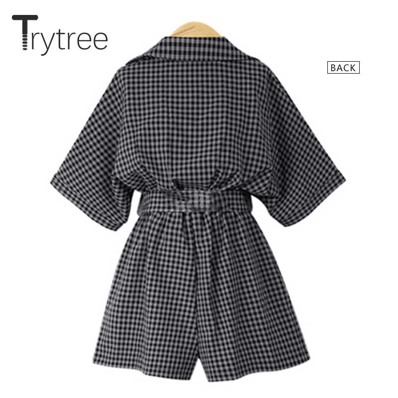 43c127daf1 ... Trytree Spring Summer Rompers Women Casual Plaid Playsuit Fashion 2019  tops Jumpsuit Ladies Off Shoulder shorts ...