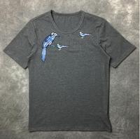 New Novelty 2017 Men Chest Embroidery Color Bird T Shirts T Shirt Hip Hop Skateboard Street