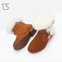 New Winter Warm Kids Boots Fashion Leather Bling Star Girls Plus Cashmere Children Baby Shoes Ankle