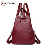 Fashion Leisure Women Backpacks Women S PU Leather Backpacks Female School Shoulder Bags For Teenage Girls