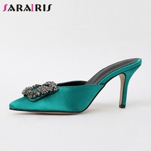 SARAIRIS 2019 Summer Brand Sexy Satin Mules Women Pointed Toe Casual Footwear slip-on Leather Lining High Heels Shoes Woman