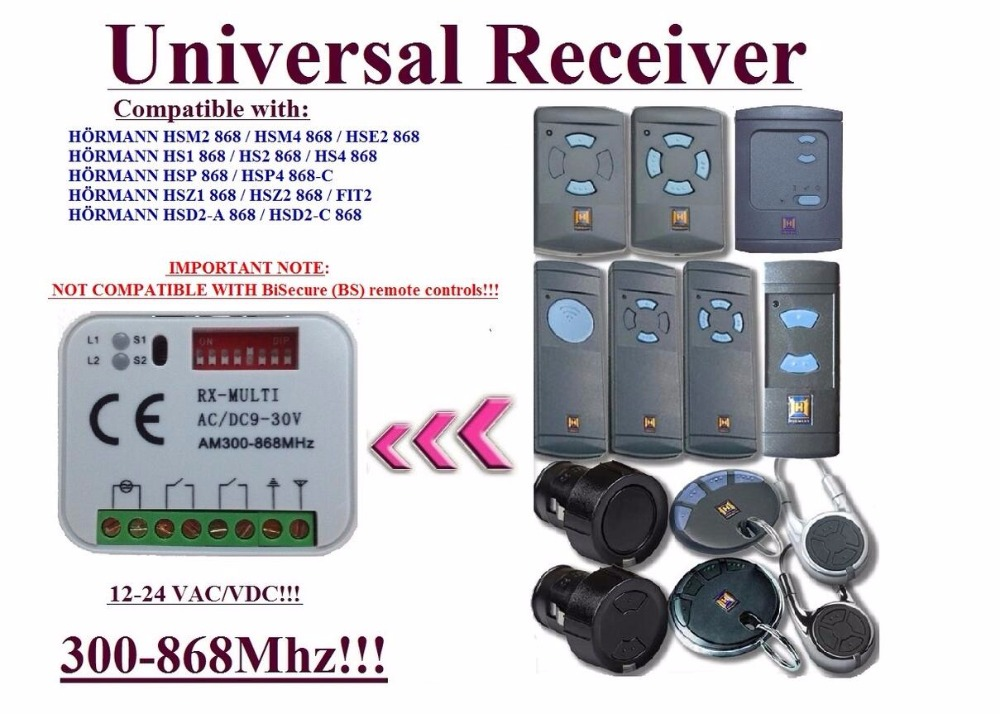 Universal receiver for Hormann 868.3MHz remote controls ,NOT FOR BS receiver