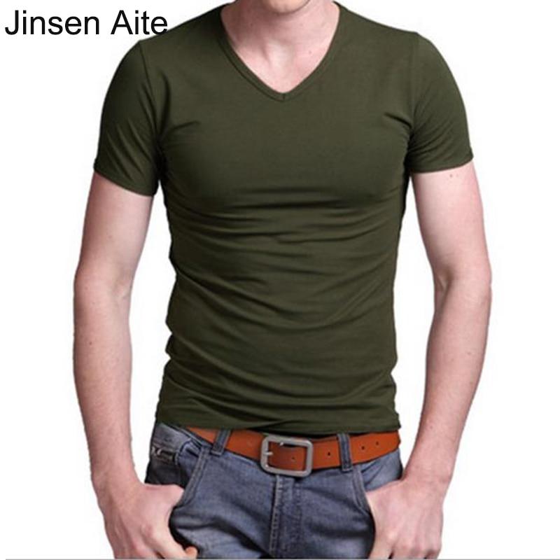 Jinsen Aite 플러스 사이즈 6XL 남자 티셔츠 여름 뉴 모달 캐주얼 V - 목 남성 탑스 티셔츠 휘트니스 옴므 짧은 소매 Camiseta JS450