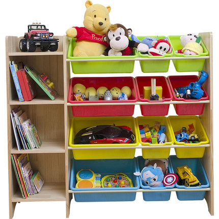 Solid wood children's toys storage rack bookshelf storage cabinet kindergarten baby toys shelf multi layer management rack