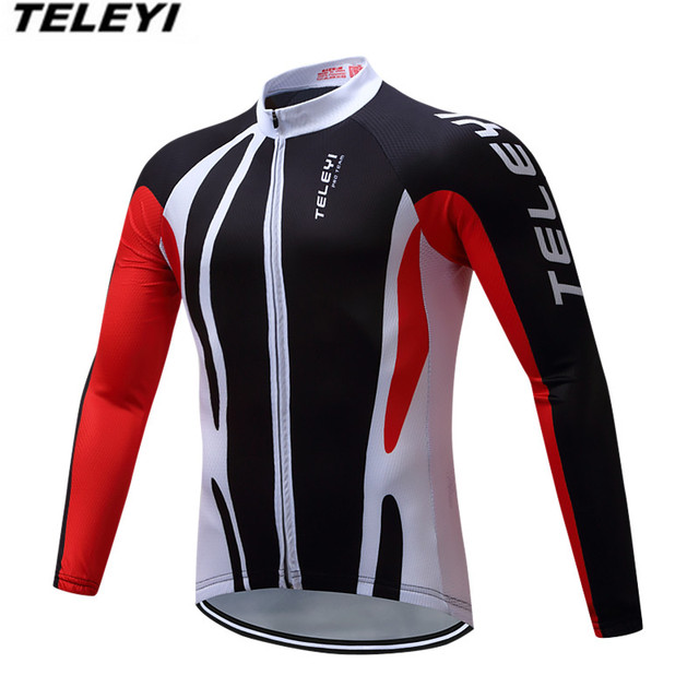 TELEYI Black red Bike jersey Men Cycling clothing Spring Male MTB Ropa  Ciclismo Maillot Long Sleeve Shirt Bicycle MTB riding Top 64a154abf