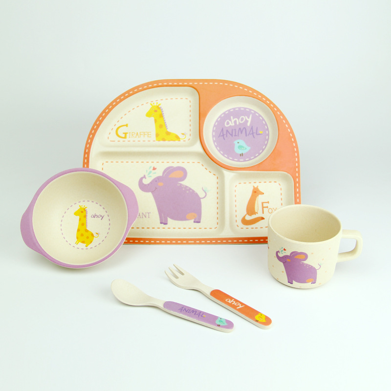 5pcs/set bamboo fiber Dinnerware children plate bamboo fiber Baby tableware set cartoon dinner Tableware Christmas gift-in Dishes from Mother \u0026 Kids on ... & 5pcs/set bamboo fiber Dinnerware children plate bamboo fiber Baby ...