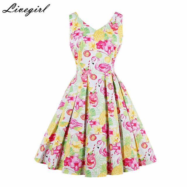 cff2778bbad95 US $25.48 |4XL Plus Size Women Pinup Pineapple Print 50s Vintage Audrey  hepburn Rockabilly Dress Sleeveless Retro Robe Swing Party Dress-in Dresses  ...