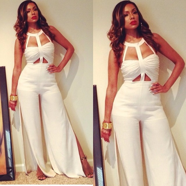 Brand White Rompers Women Jumpsuit Sexy Split Pants Bodysuit