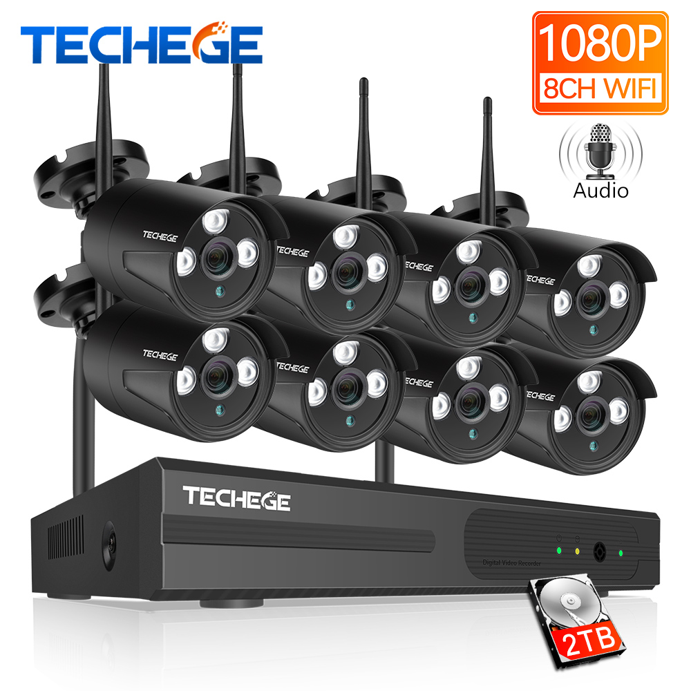 Techege 8CH 1080P HD Wifi NVR Kit Audio Record CCTV Camera System 2MP Waterproof Wireless Security Camera System 4/8 Cameras