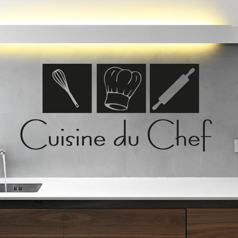 უფასო ტრანსპორტირება თანამედროვე ფრანგული კედლის სტიკერების სამზარეულო, სახლის დეკორაცია murale cuche du chef ვინილის კედლის დეკორატიული სტიკერები fr2000