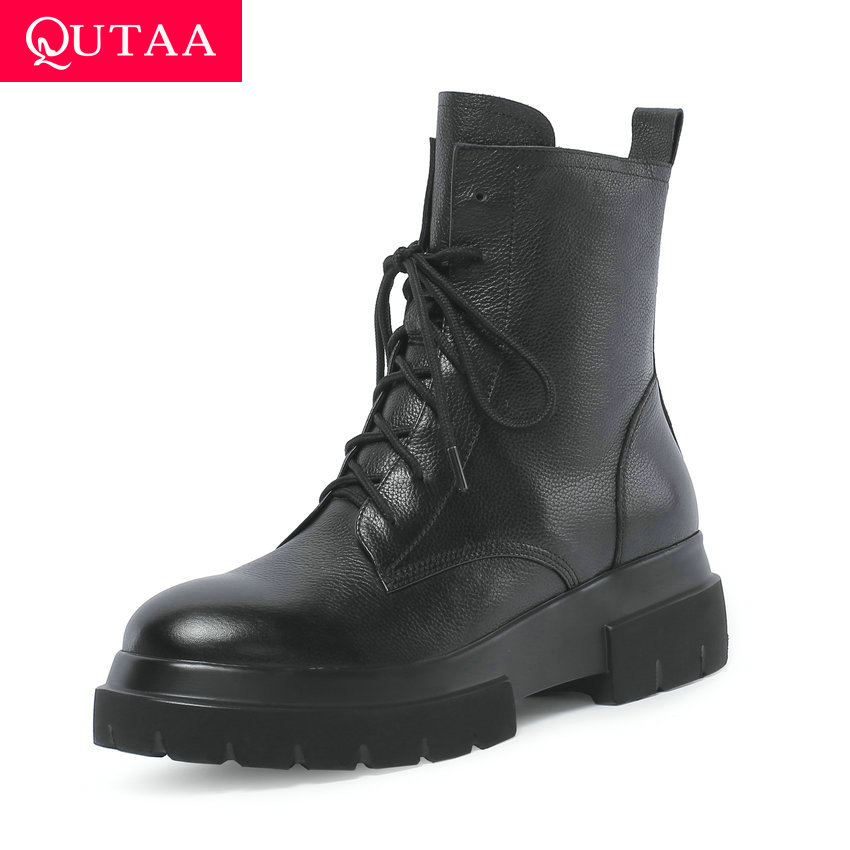 QUTAA 2020 Platform Ladies Mid Calf Boots Lace Up Concise Genuine Leather Round Toe Fashion Square Heel Women Shoes Size 34-42QUTAA 2020 Platform Ladies Mid Calf Boots Lace Up Concise Genuine Leather Round Toe Fashion Square Heel Women Shoes Size 34-42