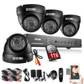 ZOSI CCTV Kit CCTV System 8CH HDMI 960H Onvif CCTV DVR with 1TB HDD+ 4X1000TVL Security Outdoor Camera Home Surveillance System