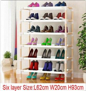 10pcs Six layer wooden shoe rack  62cm x 20cm x 93cm