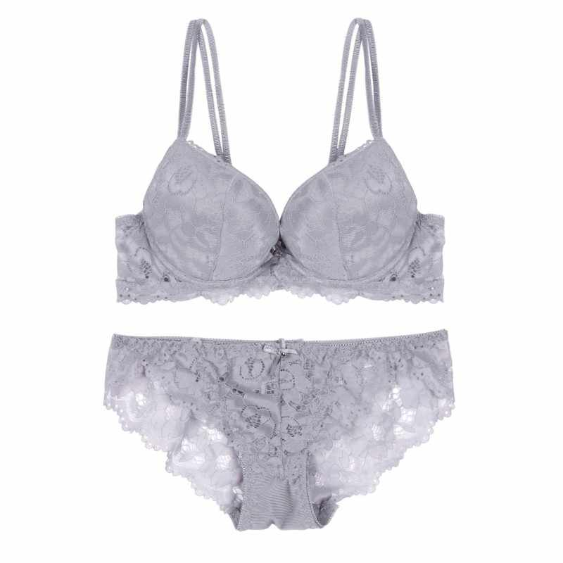 416bf4d9d6 ... Green Gray Pink Lace Bra Women Sexy Lingerie Two Piece Underwear Plus  Size Floral Underwire Push ...