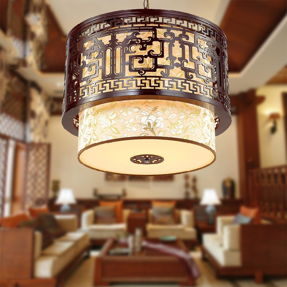 chinese style vintage wooden chandelier lighting led bulb modern dining room chandeliers sheepskin retro d