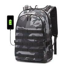 PUBG Backpack Men SchoolBag Mochila Pubg Battlefield Infantry Pack Camouflage Travel Canvas USB Charging Jack Back Knapsack Male