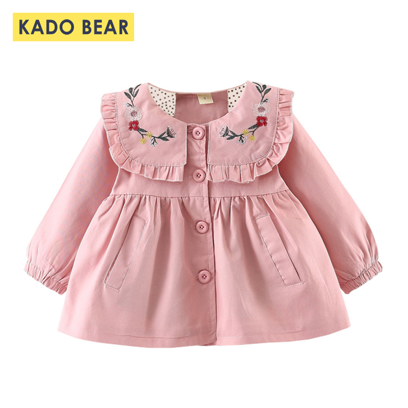 2018 Autumn Baby Coat New Fashion Girl Clothes Winter Flowers Bow Ruffle Pink Cotton Kids Jackets Long Sleeve Children Clothing 2016 new design family clothes baby girl print baggy coat fashion long sleeve stand collar europe and america baseball jackets