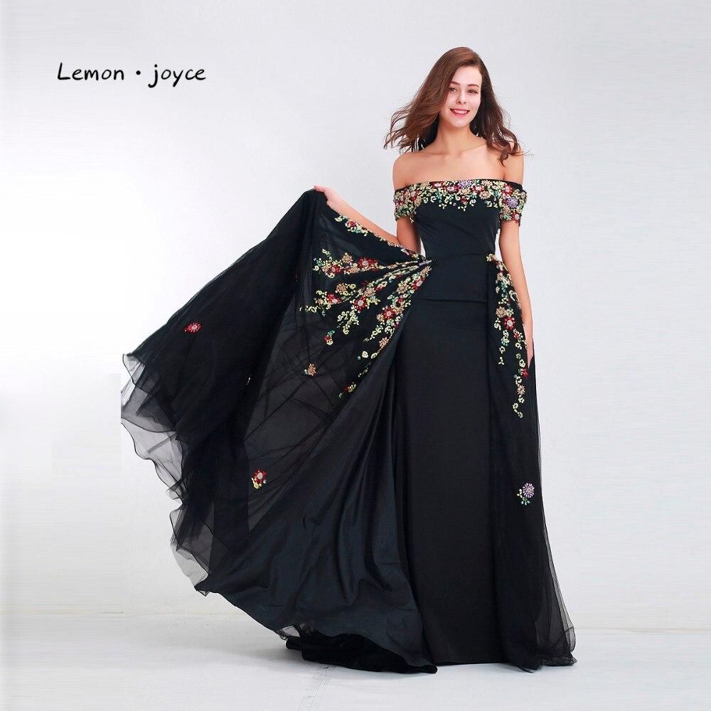 Lemon joyce Black Evening Dresses Long 2019 Elegant Detachable Train Prom Party Dress Plus Size Dubai