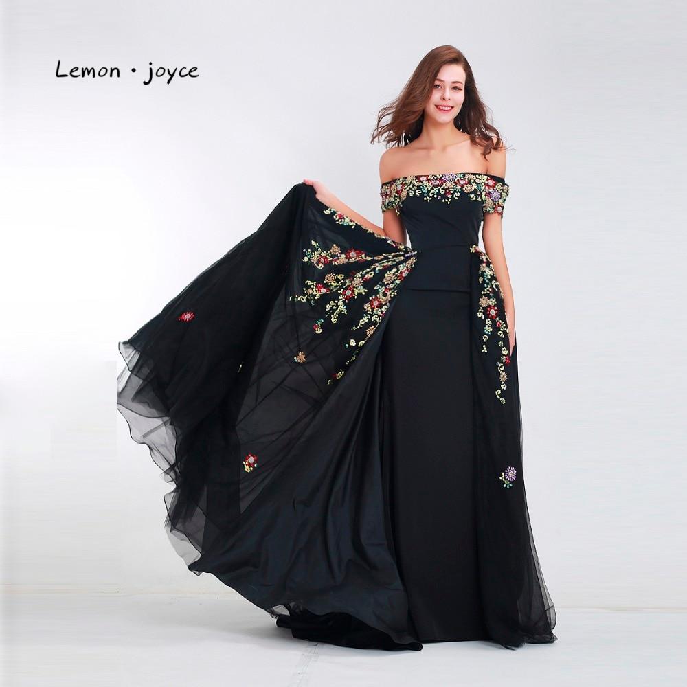 Μαύρα Φορέματα Βραδινά Φορέματα Μακρύ 2018 Κομψό Σχισμό Σκάφος ... 0c95fae6e55