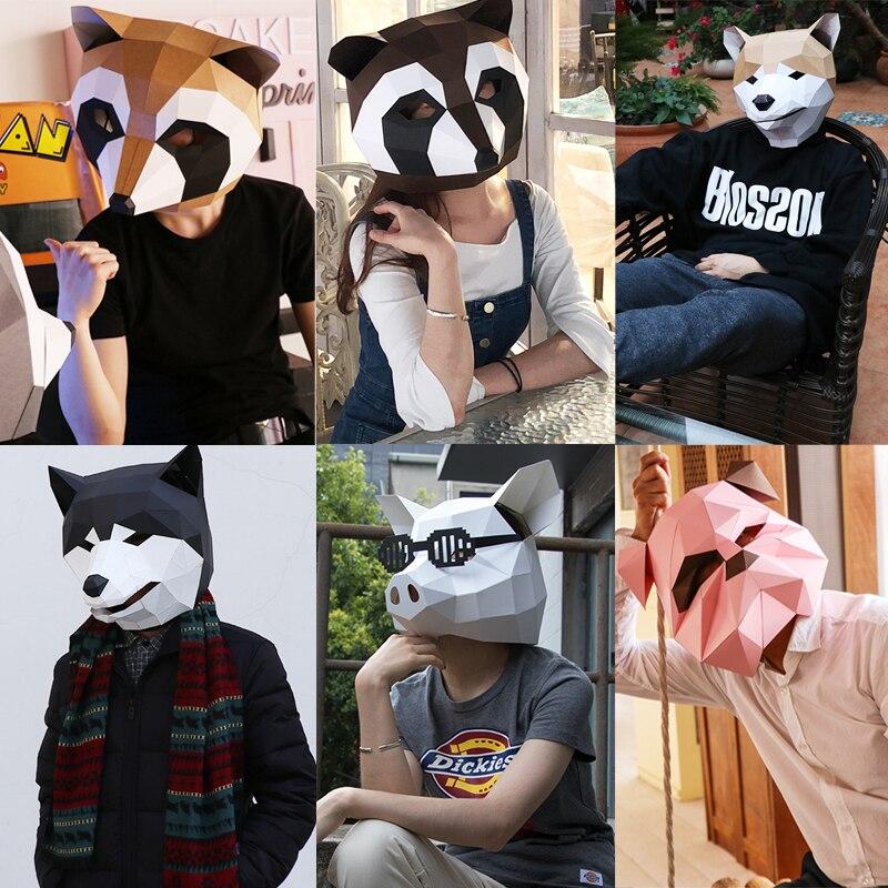 Roi de Tête Fantôme Visage Adulte carton Respirant Décor De Fête D'halloween Cosplay Costume Animal Masque BRICOLAGE Fête Tricky Drôle Masque
