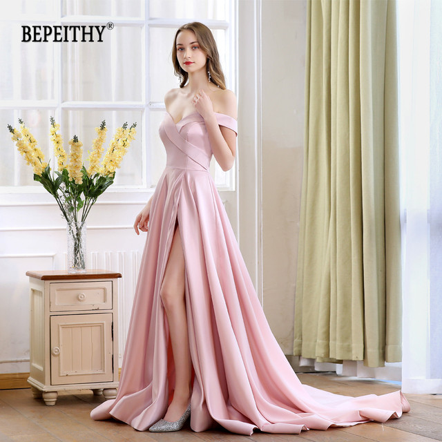 2020 bepeithy primavera robe de soiree rosa fora do ombro vestidos de noite com alta fenda sexy longo baile de formatura vestido de festa abendkleider
