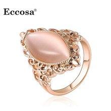 Партийные опал роуз выдалбливают подарков позолоченные камень палец кольца женский кольцо