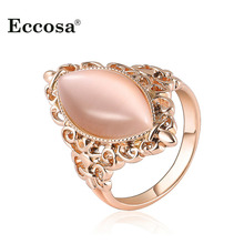 Brand Big Opal Stone Party Rings For Women Jewelry Rose Gold Color  Hollow Out Female Finger Ring Gift Free Shipping