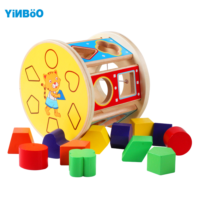 Bébé jouets pour enfants en bois rond classique Multi forme trieur bloc pour enfants filetage début jeu éducatif cadeau de noël