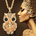 Lemon Value Fashion Charms Rhinestone Gold Color Owl Pendants Vintage Punk Maxi Crystal Long Necklaces Women Jewelry Gift A324