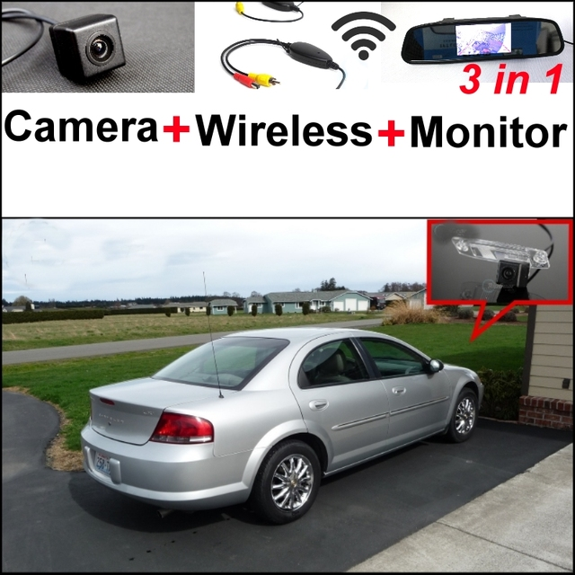 3 In1 Special Rear View Camera Wireless Receiver Mirror Monitor Bcakup Parking System For Chrysler Sebring 2007 2017