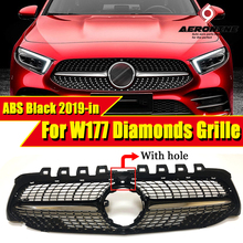W177 grille Diamonds style With Camera Sports Front Bumper A class A180  A200 A250 A45 look ABS Black grills Without Sign 2019+