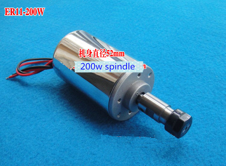 DC 200W Spindle motor/ 0.2KW air-cooling spindle motor/200W air-cooled spindle motor/ER11 spindle motor water cooling spindle sets 1pcs 0 8kw er11 220v spindle motor and matching 800w inverter inverter and 65mmmount bracket clamp